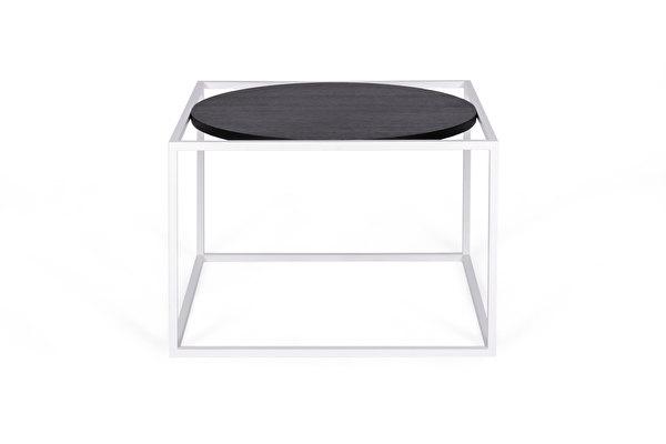 FOREST Round baltas kavos staliukas Juodas-azuolas