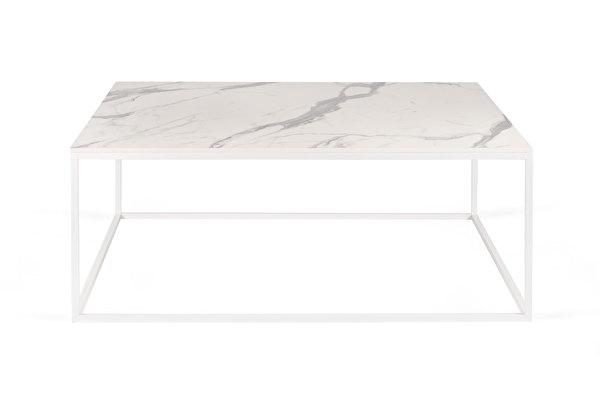 FOREST baltas kvadratinis kavos staliukas 100 Balto-marmuro-imitacijos-stalvirsis
