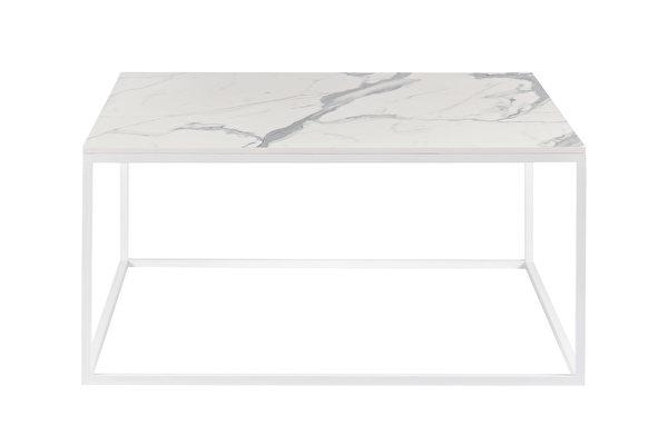 FOREST baltas kvadratinis kavos staliukas 80 Balto-marmuro-imitacijos-stalvirsis