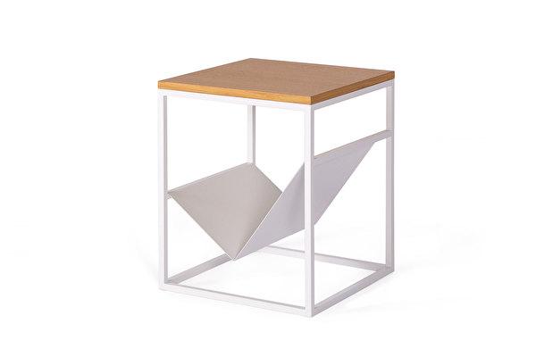 FOREST baltas šoninis žurnalinis staliukas Azuolas